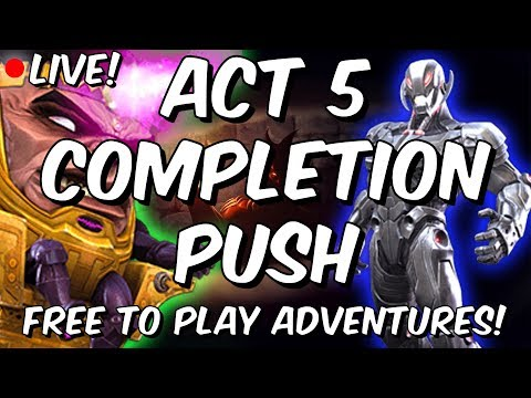 Act 5 Completion Push! - 5.3 & 5.4 Progress Part #1 - Free To Play - Marvel Contest Of Champions
