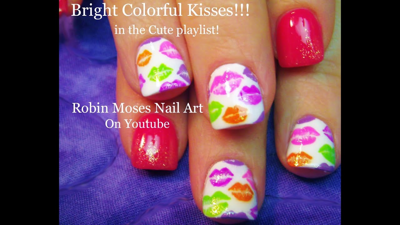 Rainbow Kiss Nails! DIY Spring Lip Print Nail Art Design Tutorial ...