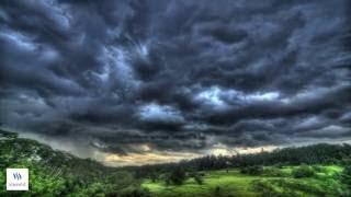 Surreal undulatus asperatus cloud formations time-lapse above beautiful Bali rice fields