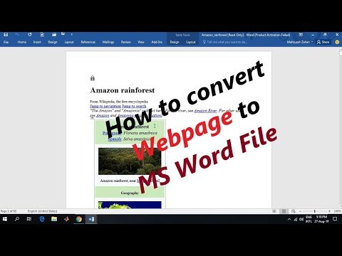 Convert Webpage Into Microsoft Word File