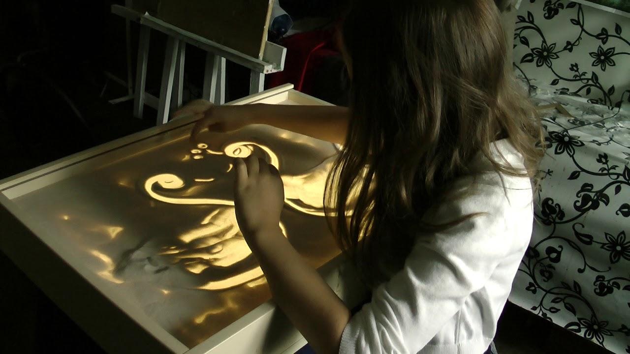 Рисунки песком для детей - YouTube