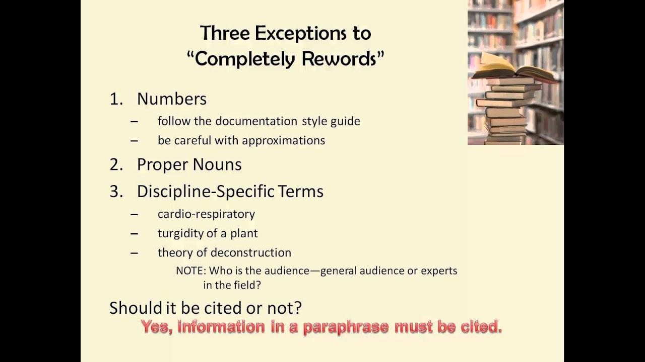 Paraphrasing Exercise YouTube – Paraphrasing Practice Worksheet