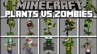 Minecraft PLANTS VS ZOMBIES MOD / KILL THE ZOMBIES WITH YOUR PLANT SPAWNERS!! Minecraft