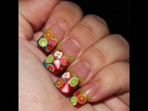 acrylic glitter nails fruit