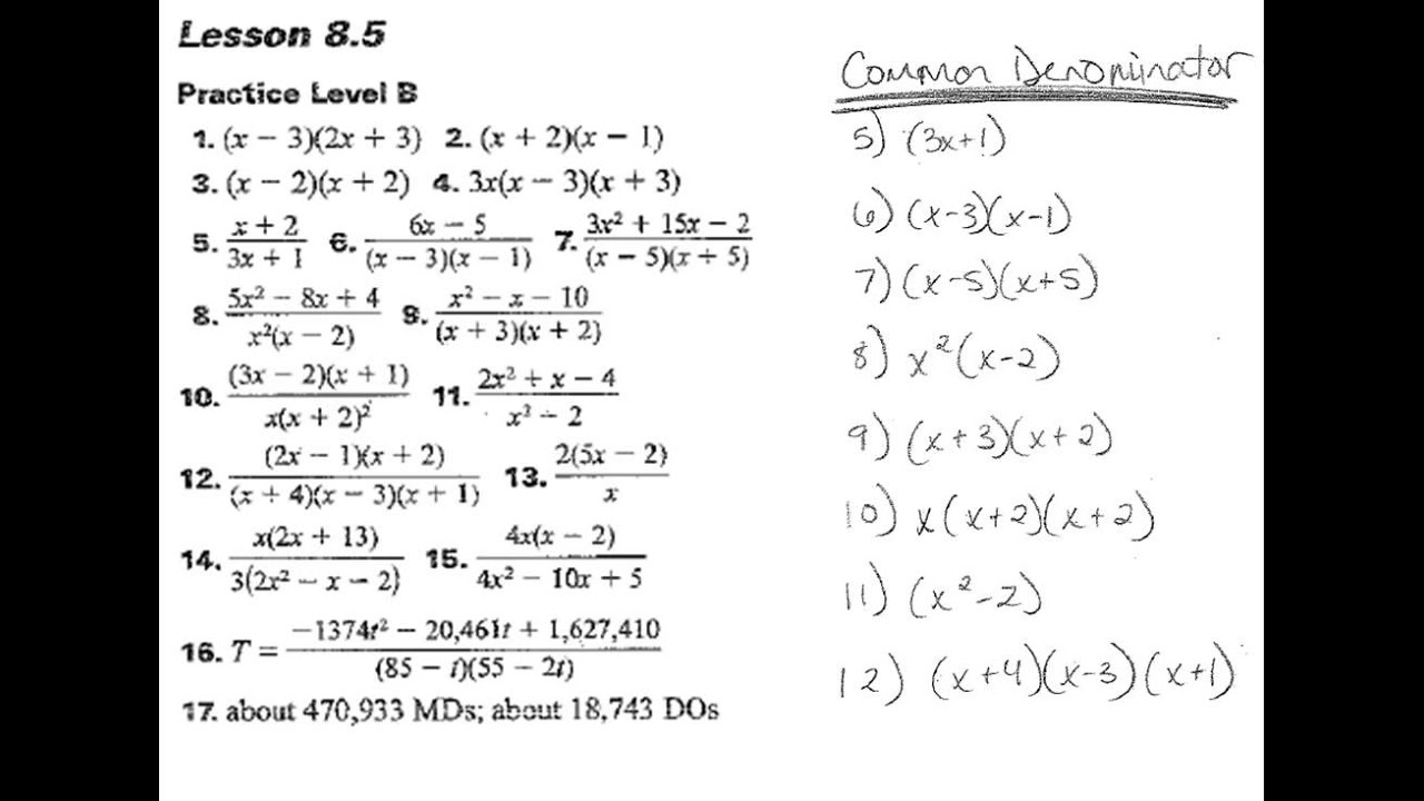 Algebra II 8486 HW Answers YouTube – Algebra 2 Worksheet Answers