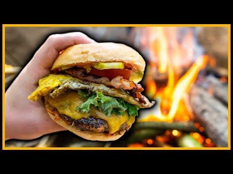 ???? XXL Burger und Pommes ???? draußen kochen - Outdoor Bushcraft Deutschland
