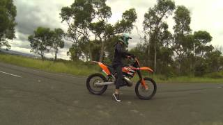 MATE wheelies on the back of dirtbike!!//burnouts good bye tyre..//wheelies