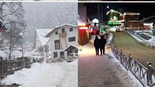Russian Ski Resort Village Day and Night Life Dombay Горнолыжный курорт Домбай