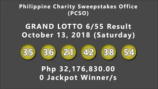 PCSO GRAND LOTTO 6/55 and LOTTO 6/42 Results October 13, 2018 (Saturday)