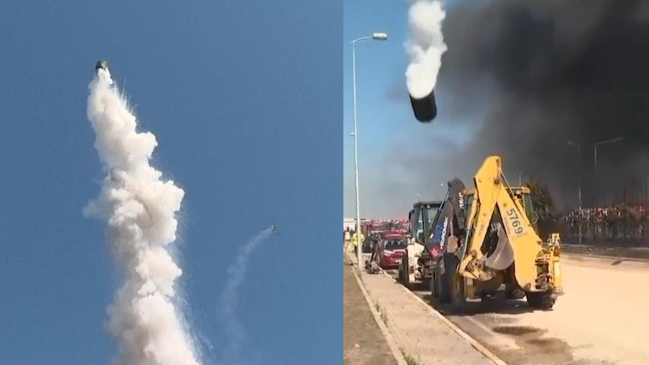 Factory Explosion Shoots Metal Drum Into the Sky