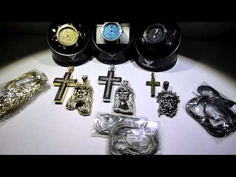 (SOLD) $325 15 piece WHOLESALE Deal! 3 REAL DIAMOND Watches + Lab Made Crosses/Jesus/chains!