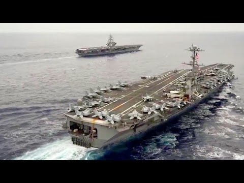 Naval Dominance: Two U.S. Aircraft Carriers Sail Side By Side