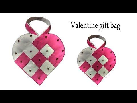 Woven Paper Heart gift Bag(easy)  Christmas Gift Bag  DIY-Gift Bag  How to make heart woven gift bag