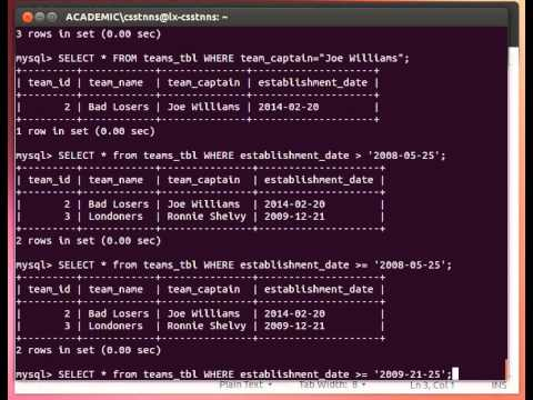 MySQL Tutorial From Terminal 11/27: More On SELECT - Using WHERE And NULL Values