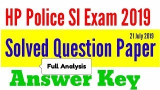 HP Police Sub-Inspector Answer Key 2019 || HP SI Exam Answer Key || HP SI Solved Question Paper