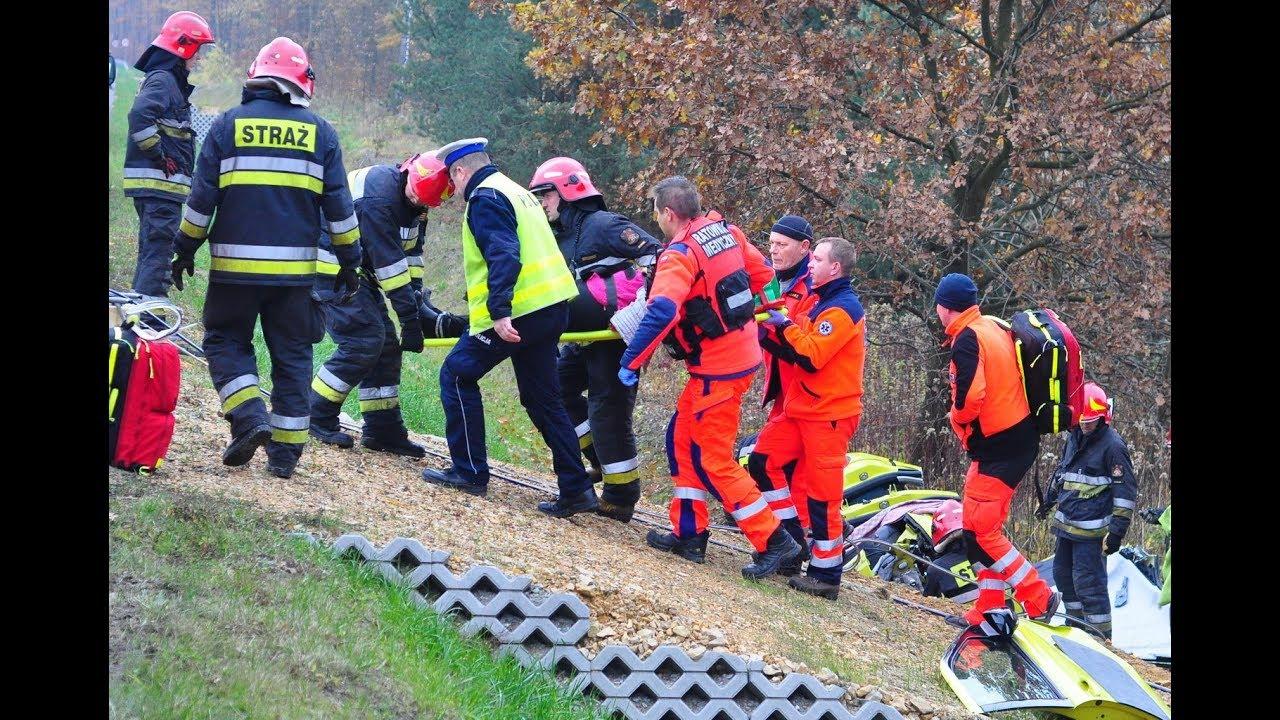 Wypadek na Rudzkiej w Rybniku Stodołach. Lądował śmigłowiec – 8 listopada 2017