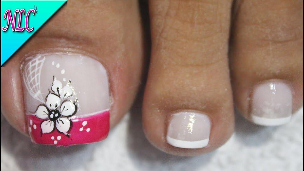 Diseño De Uñas Para Pies Flor Y Francés Principiantes Flowers Nail Art Nlc