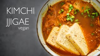 VEGAN KIMCHI JJIGAE RECIPE  HOW TO MAKE KOREAN SPICY TOFU STEW