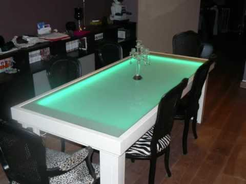 Led table design dining table pictures and movie youtube - Fish tank dining room table ...