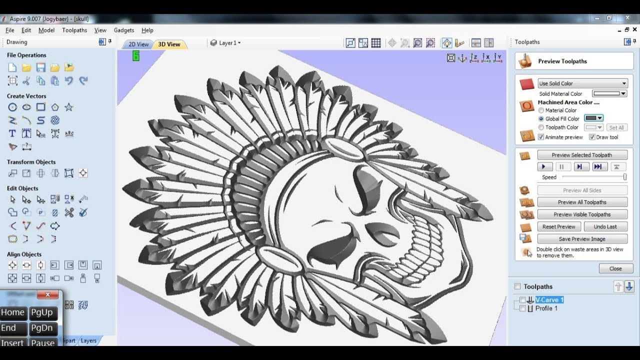 Vectric Aspire 2D Tutorial-5#How to Make V Carve Toolpaths#Bevel ...