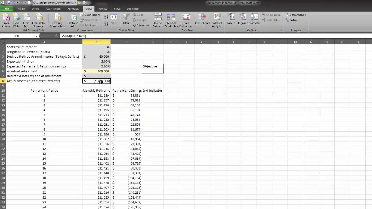 Finance with Excel: Retirement Spending Calculator
