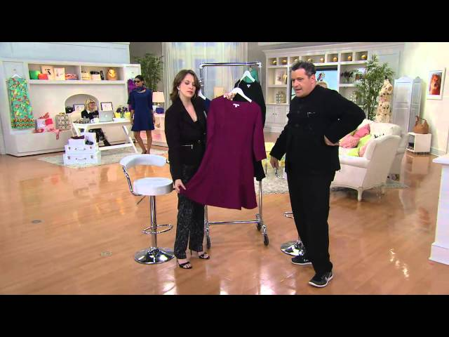 Isaac Mizrahi Live! Textured Knit Fluted Hem Dress with Jacque Gonzales