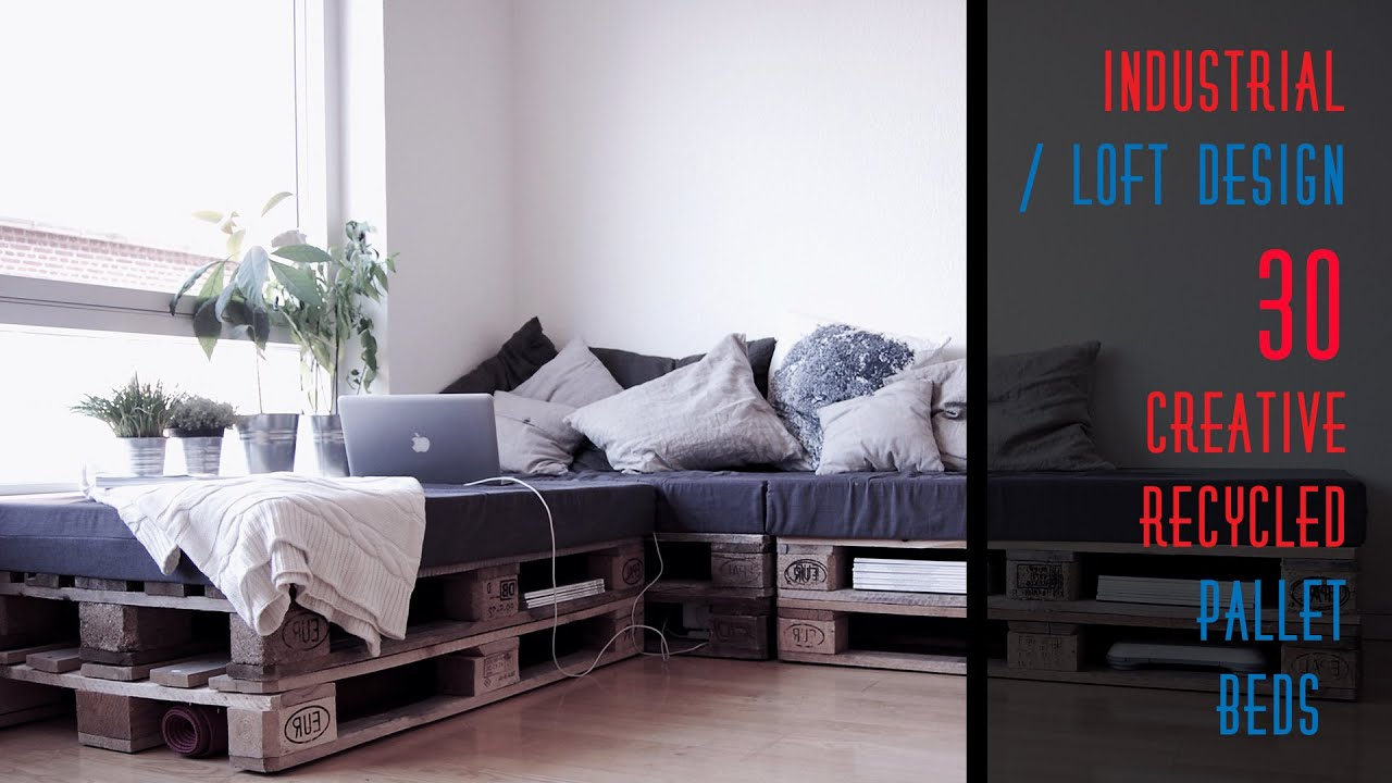 30 DIY Recycled Pallet Bed Frame Designs - YouTube