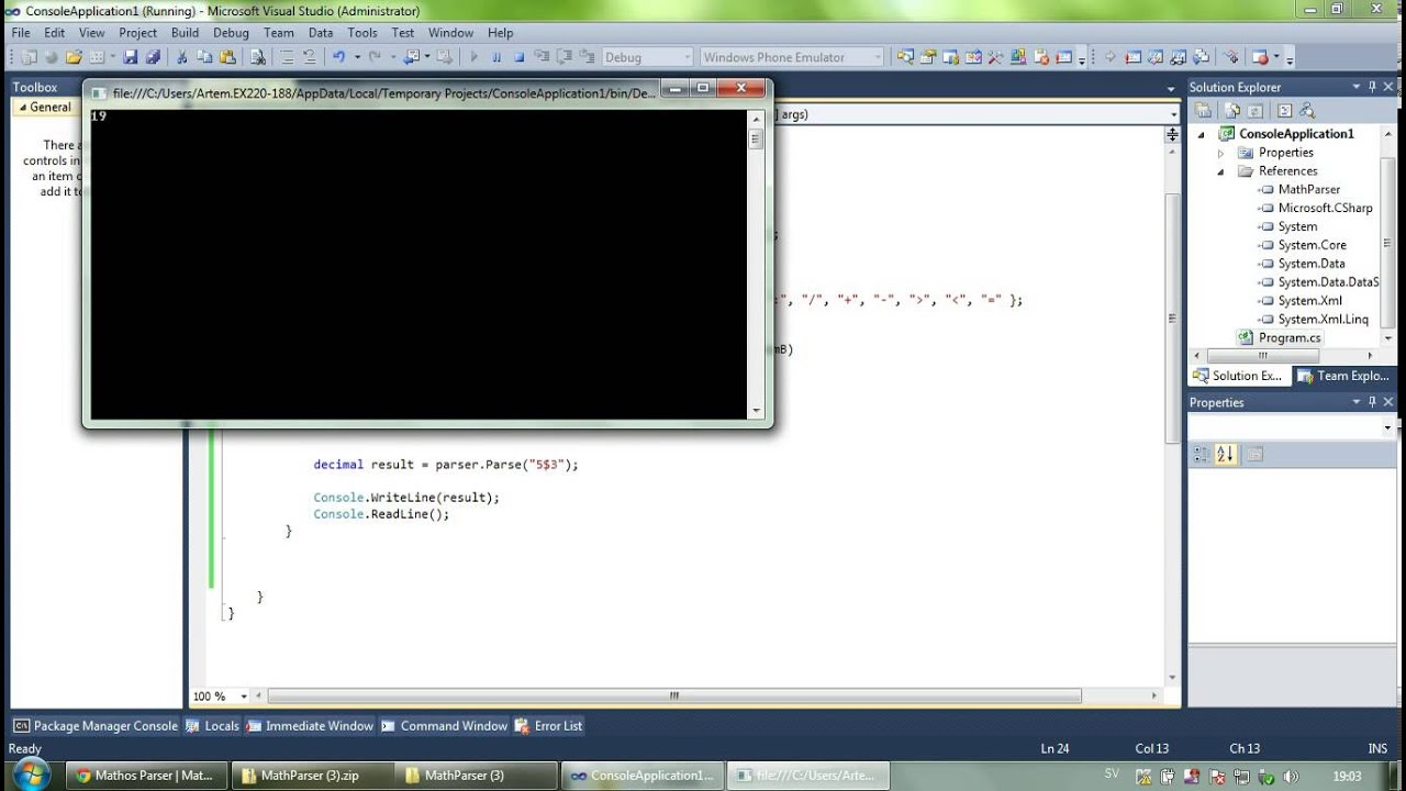 Parse mathematical expressions using C# NET