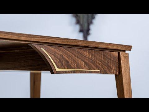 Walnut Desk with Brass Inlay - Build Video by Pedulla Studio