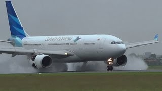 FULL thrust reverse on a wet runway A330 243 Garuda Indonesia PK-GPO at AMS Schiphol