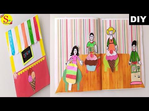 Diy paper quiet book ice cream parlour   icecream parlour pretend play book for kids