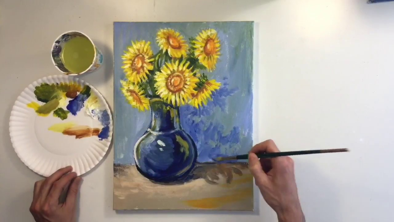 How To Paint A Sunflower Vase Step By Step Tutorial Youtube