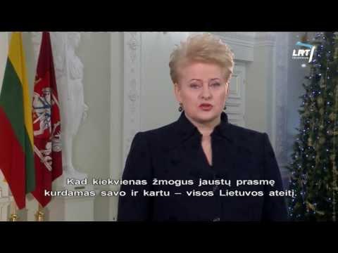Lietuvą su Naujaisiais metais pasveikino prezidentė Dalia Grybauskaitė (2014) HD