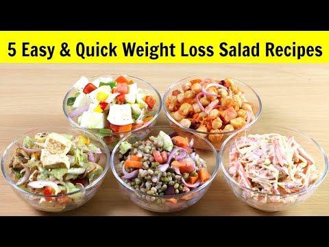 ५ झटपट और आसान सलाद वजन कम करने के लिए | Weight Loss Recipe | Salad | Diet Recipe | KabitasKitchen