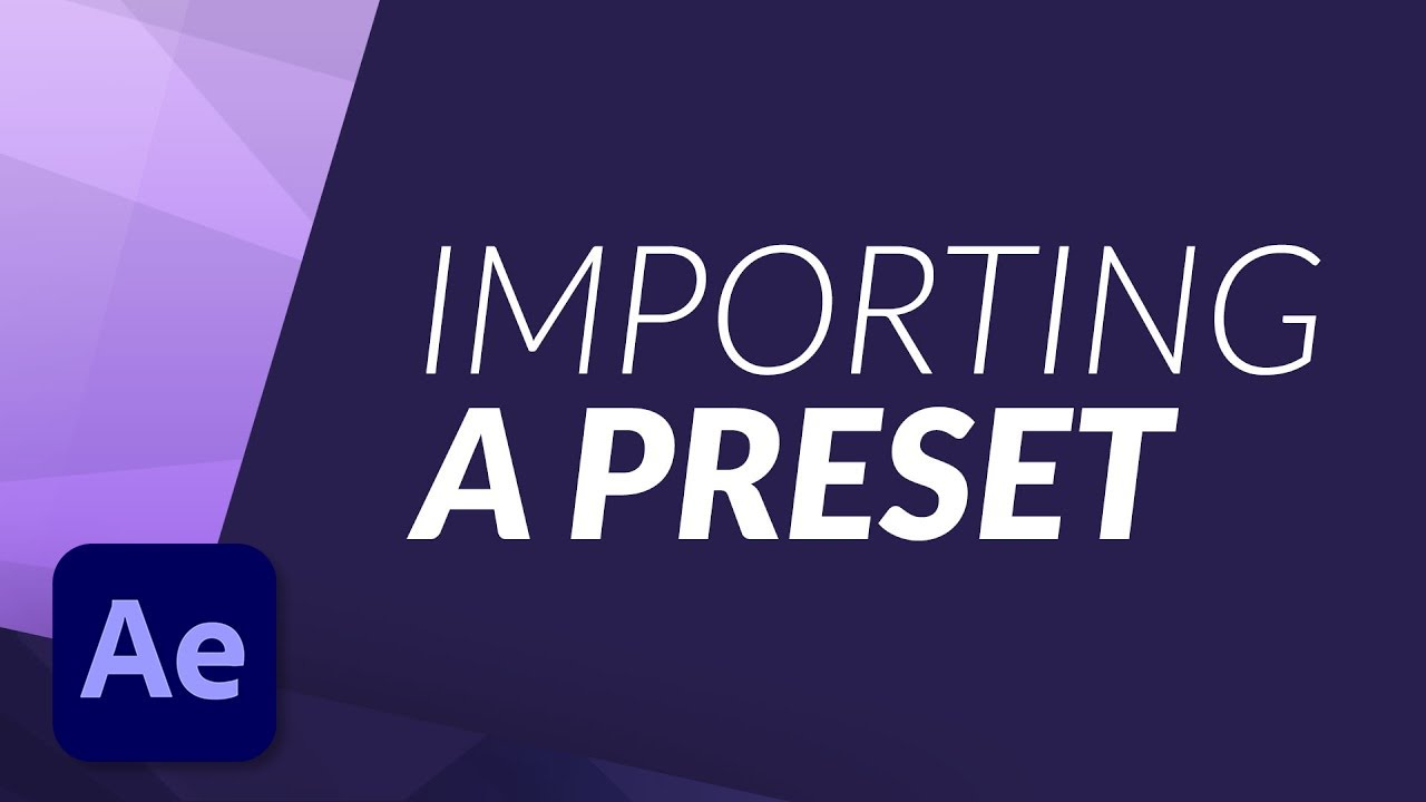 How to IMPORT a PRESET in Adobe After Effects - EASY