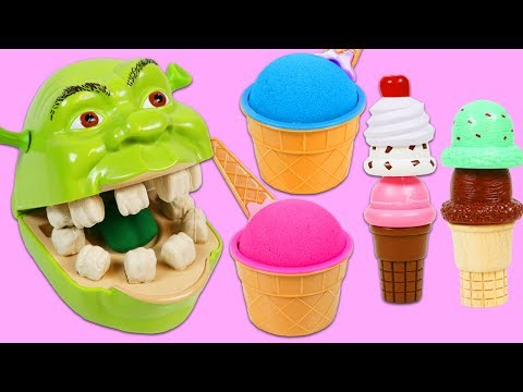 Thumbnail: Feeding Hungry Shrek Kinetic Sand Ice Cream and Fixing Play Doh Drill N Fill Dentist Teeth!
