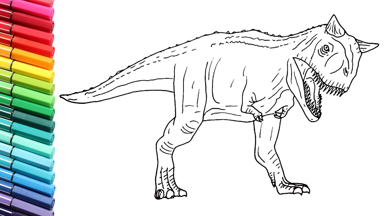 How to Draw The Carnotaurus From Jurassic World - Dinosaurs Color Pages for  Children