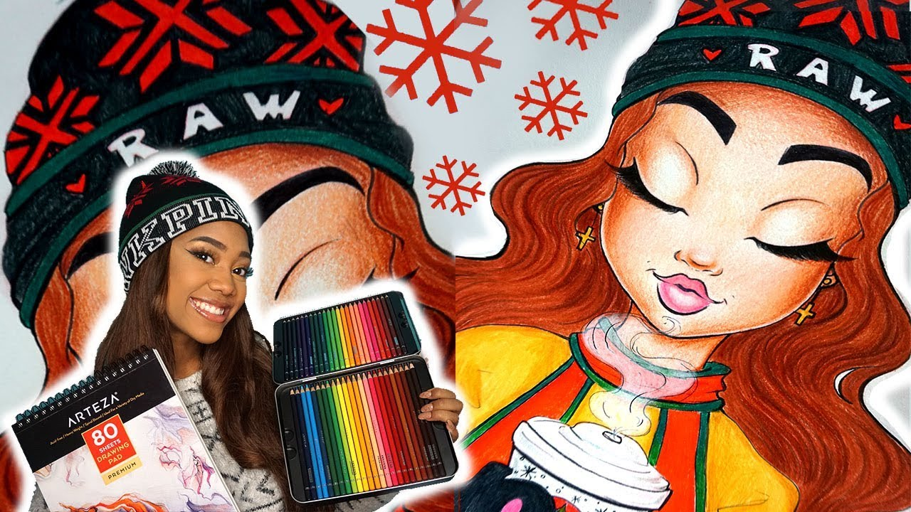 how to draw and color a cute holiday girl with arteza giveaway