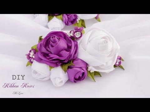 РОЗЫ ИЗ ЛЕНТ, МК / ЗАКОЛКА С РОЗАМИ, МК / DIY Ribbon Rose