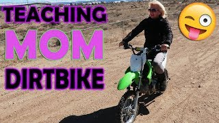 TEACHING KIDS MOM TO DIRTBIKE!