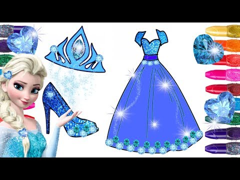 Frozen Elsa Coloring Page Painted with GLITTER and GEMSTONES | Glitter Frozen Coloring Elsa Dress