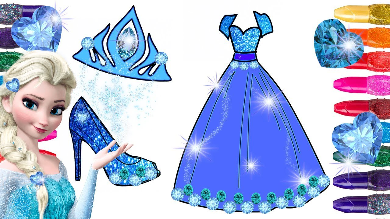 Frozen Elsa Coloring Page Painted With Glitter And Gemstones Glitter Frozen Coloring Elsa Dress Youtube