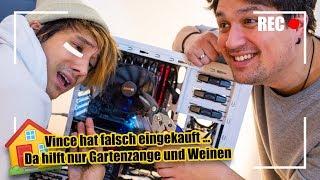 2 Profi-Deppen bauen Profi-PC auf (mit Gartenzange und Finger)