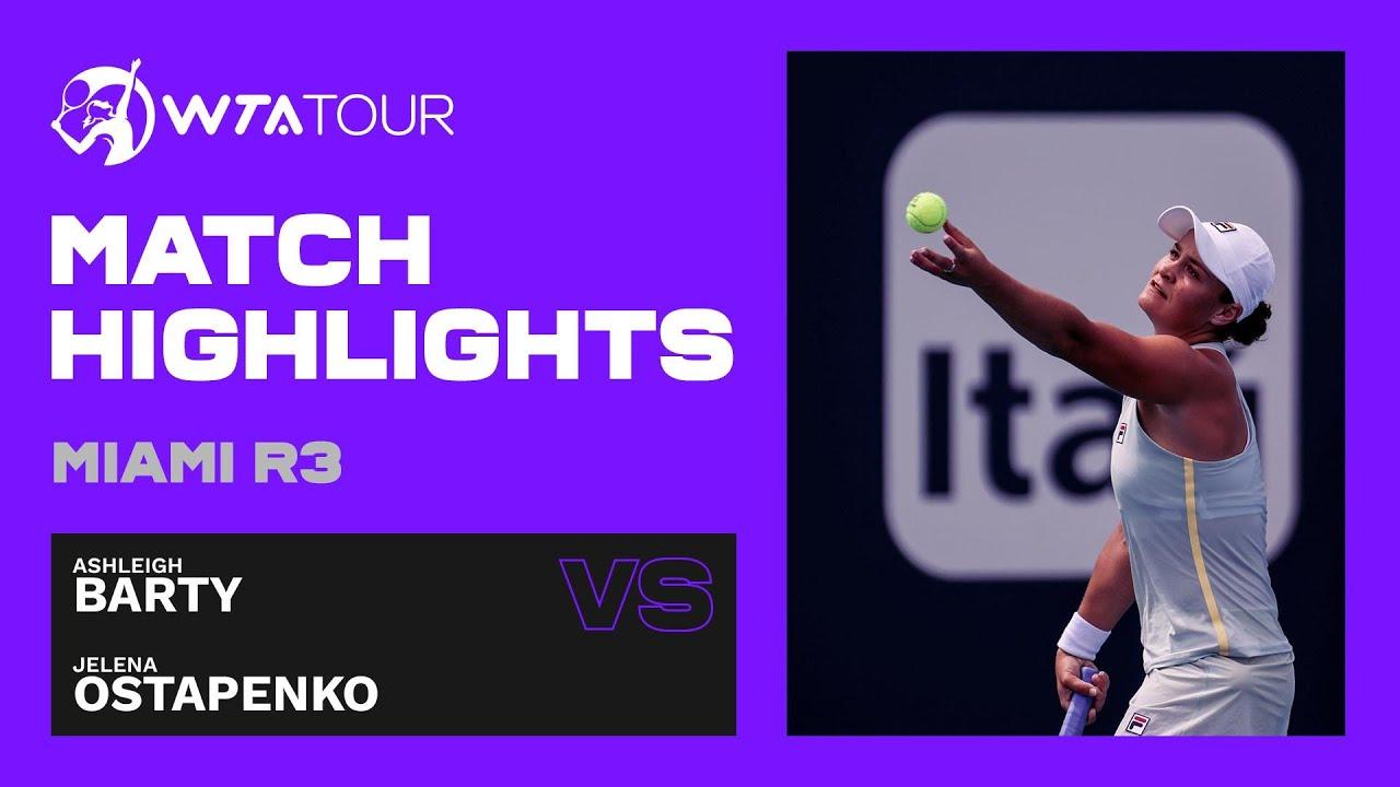 Ashleigh Barty vs. Jelena Ostapenko | 2021 Miami Open Round 3 | WTA Match Highlights