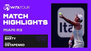Ashleigh Barty vs. Jelena Ostapenko | 2021 Miami Open Round 3 | WTA Match Highlights