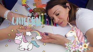 Çok Havalı Unicorn Çizerken Annem Uyudu Yunicorn Boyadık Boyama Challenge Bidünya Oyuncak 🦄