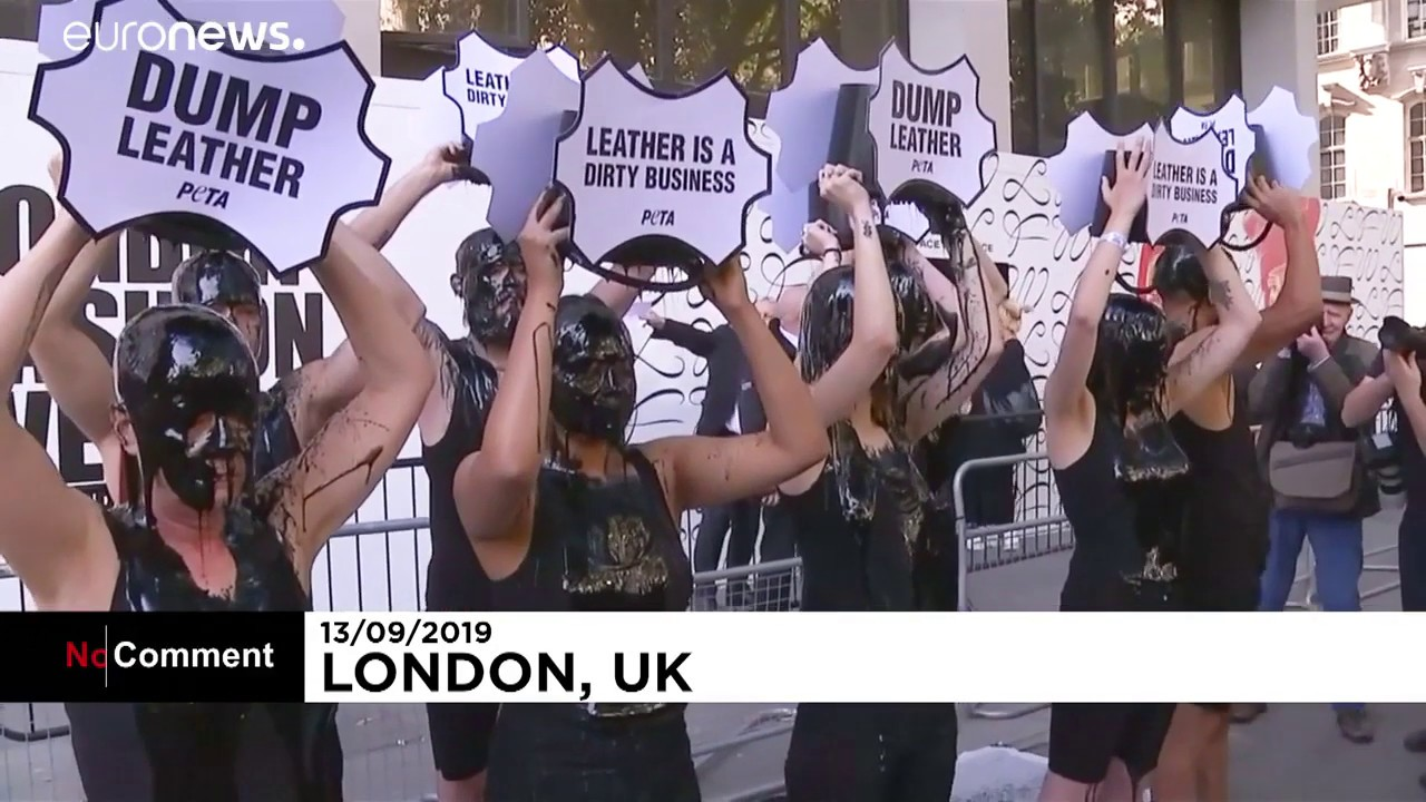 London Fashion Week  'Dump leather,' demand slimed protesters
