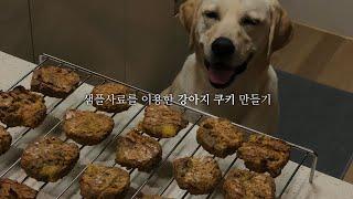샘플사료들을 이용해서 강아지 수제쿠키를 구웠어요!