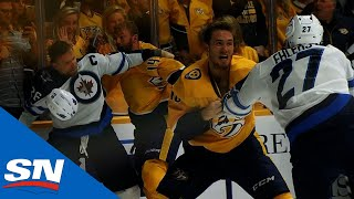 Chaos Erupts As Predators And Jets Dance In Line Brawl