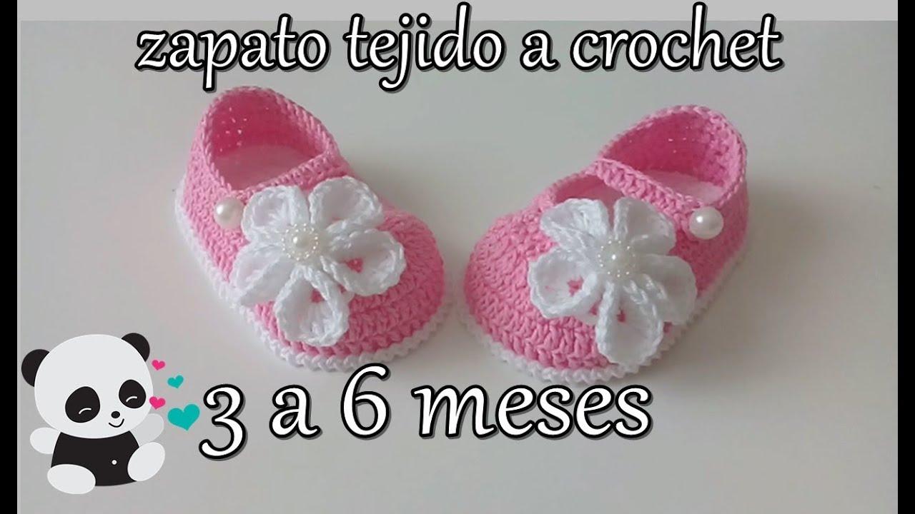 f7a86c6f zapatito tejido a crochet -diseño- flor kanzashir -3 a 6 meses - YouTube